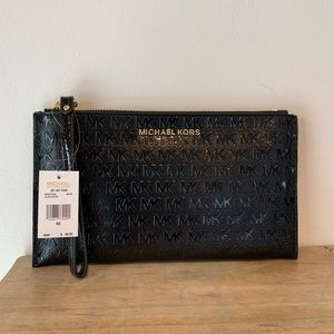 Michael Kors Black With Gold Hardware Clutch NWT